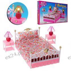 SYPIALNIA łóżko 2-osobowe lampki mebelki Barbie EduCORE Dla Dzieci