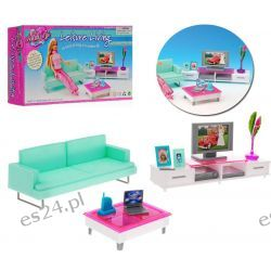 Salon TRENDY sofa TV laptop meble dla Barbie EduCORE Mebelki dla lalek