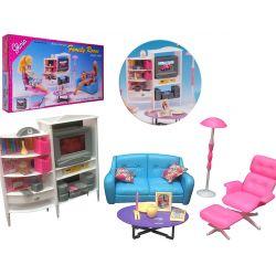 Salon FUTURO kolorowy rodzinny meble dla Barbie EduCORE Mebelki dla lalek