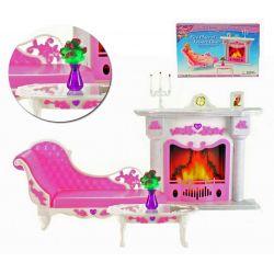 Salonik HEART kominek meble dla Barbie EduCORE Mebelki dla lalek