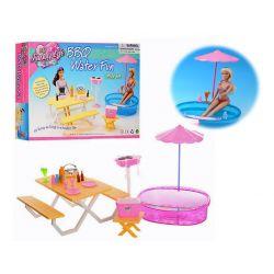 PIKNIK FUN basen stół parasol meble dla Barbie EduCORE Mebelki dla lalek