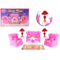 SALON ROSE sofa fotele stół mebelki Barbie EduCORE Dla Dzieci