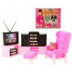 SALON AUDIO RTV wieża fotel mebelki Barbie EduCORE Zabawki