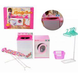 PRALNIA pralka żelazko kosz mebelki Barbie EduCORE Zabawki