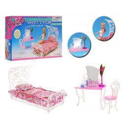 SYPIALNIA łóżko baldachim VINTAGE mebelki Barbie EduCORE Dla Dzieci