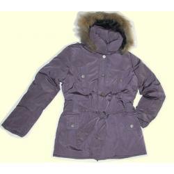 K&L kurtka puchowa płaszcz futro FIOLET M zima