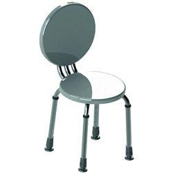 Aluminiowy taboret toaletowy z plastikowym siedziskiem i oparciem
