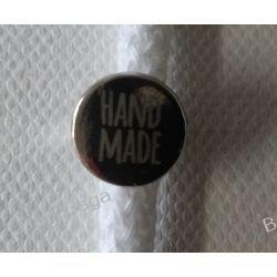 Metka HAND MADE metalowa, pastylka na wąsy - nikiel