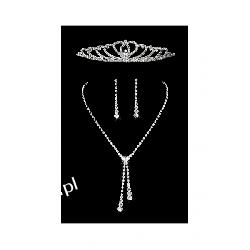 Komplet ślubny ELENA 5 naszyjnik, kolczyki, tiara Biżuteria i Zegarki