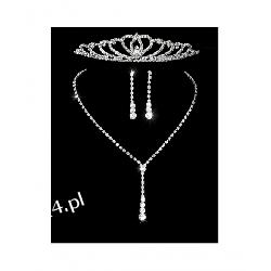 Komplet ślubny ELENA 4 naszyjnik, kolczyki, tiara Biżuteria i Zegarki