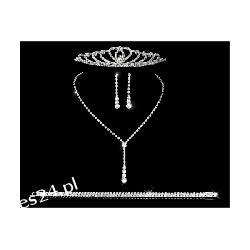 Komplet ślubny ELENA 6 naszyjnik, kolczyki, tiara, bransoletka Komplety