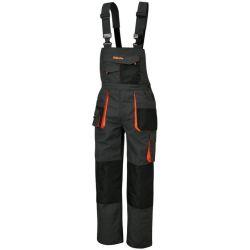 7863E - Spodnie robocze na szelkach EASY LIGHT z materiału T/C, 180 g/m2, z wstawkami Oxford, szare Płaskie, oczkowe, płasko-oczkowe