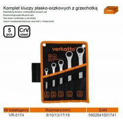 Komplet Kluczy Płasko-Oczkowych z Grzechotką 5 szt. verkatto VR-0174 Szczypce, nożyce i obcęgi