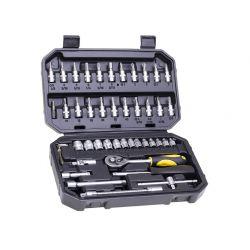 Zestaw kluczy nasadowych 1/4'', 46 szt. CON-SOC-5446 Płaskie, oczkowe, płasko-oczkowe