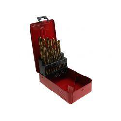 Wiertła do metalu HSS TIN: 1,0-10,0 mm: 19 szt., metalowe pudełko, CON-XWM-1128 Wiertła