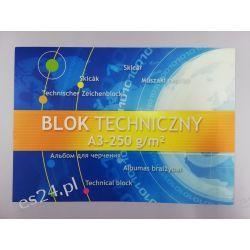Blok techniczny biały A3 250g Gumki