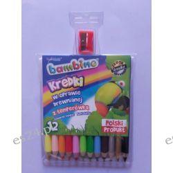 Kredki 12 kolorowe w drewnie Bambino Gumki