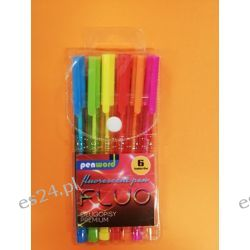 Zestaw długopisów fluo 6 kol PenWord Gumki