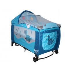 CoTo BABY łóżeczko turystyczne SAMBA LUX niebiesko szare szare