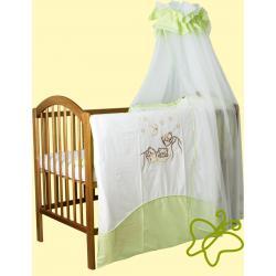 Pościel do łóżeczka 4 elementowa smykoland trzy misie zielona ecru baldachim tiul