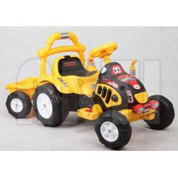 arti traktorek elektryczny z przyczepą żółty