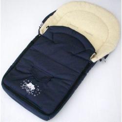 Śpiworek do wózka NESTOR środek owcza wełna aplikacja misia granat