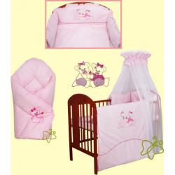Pościel do łóżeczka 3 elementowa smykoland  bliżniaczki róż