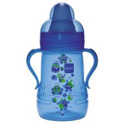 MAM butelka treningowa treiner 6+ z miękkim ustnikiem i uchwytami,niekapek ,niebieski