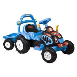 arti traktorek elektryczny z przyczepą niebieski