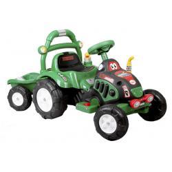 arti traktorek elektryczny z przyczepą zielony