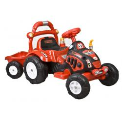 arti traktorek elektryczny z przyczepą czerwony