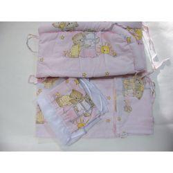 Pościel mamo-tato 4 el.drabinki róż,baldachim szyfon,  rozm.90*120