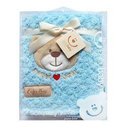 Kocyk KCSN-12 Bobobaby z aplikacją cute baby niebieski 76*102cm