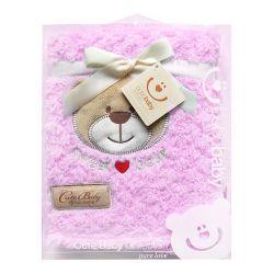 Kocyk KCSN-12 Bobobaby z aplikacją cute baby różowy 76*102cm