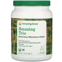Amazing Grass, Amazing Trio, Barley Grass & Wheat Grass & Alfalfa, 28.2 oz (800 g)