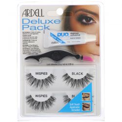 Ardell, Deluxe Pack, Wispies Lashes with Applicator and Eyelash Adhesive, 1 Set
