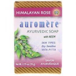 Auromere, Ayurvedic Soap, With Neem, Himalayan Rose, 2.75 oz (78 g) Pozostałe