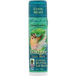 Badger Company, Cocoa Butter Lip Balm, Cool Mint, .25 oz (7 g) Zagraniczne