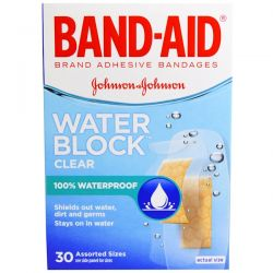 Band Aid, Adhesive Bandages, Water Block, Clear, 30 Assorted Sizes Pozostałe