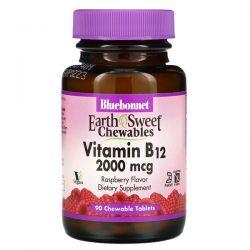 Bluebonnet Nutrition, EarthSweet Chewables, Vitamin B12, Raspberry , 2,000 mcg, 90 Chewable Tablets Pozostałe