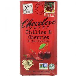 Chocolove, Chilies & Cherries in Dark Chocolate, 55% Cacao, 3.2 oz (90 g) Pozostałe