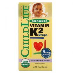 ChildLife, Organic, Vitamin K2 Drops, Natural Berry Flavor, 0.406 fl oz (12 ml) Zagraniczne