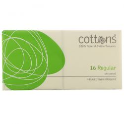 Cottons, 100% Natural Cotton Tampons, Regular, Unscented, 16 Tampons Pozostałe