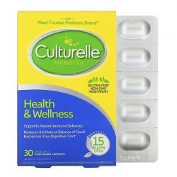Culturelle, Probiotics, Health & Wellness, 15 Billion CFUs, 30 Once Daily Vegetarian Capsules