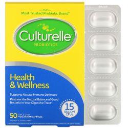 Culturelle, Probiotics, Health & Wellness, 15 Billion CFUs, 50 Once Daily  Vegetarian Capsules