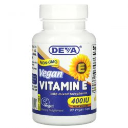 Deva, Vegan Vitamin E with Mixed Tocopherols, 400 IU, 90 Vegan Caps Pozostałe