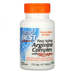 Doctor's Best, Fast Acting Arginine Complex with Nitrosigine, 750 mg, 60 Tablets