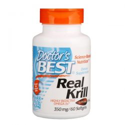 Doctor's Best, Real Krill, 350 mg, 60 Softgel Capsules Zdrowie, medycyna
