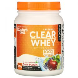 Doctor's Best, Clear Whey Protein Isolate, Fruit Punch, 1.17 lb (529.2 g) Zdrowie, medycyna
