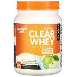 Doctor's Best, Clear Whey Protein Isolate, Green Apple, 1.16 lb (525 g) Zdrowie, medycyna